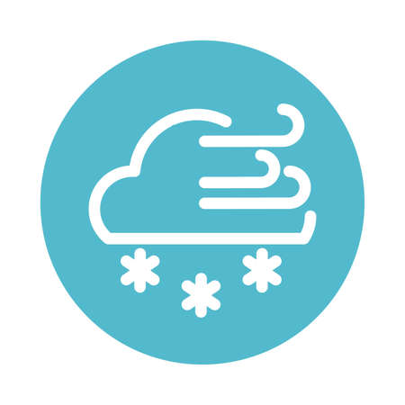 clouds with wind and snow, block and flat style icon vector illustration design