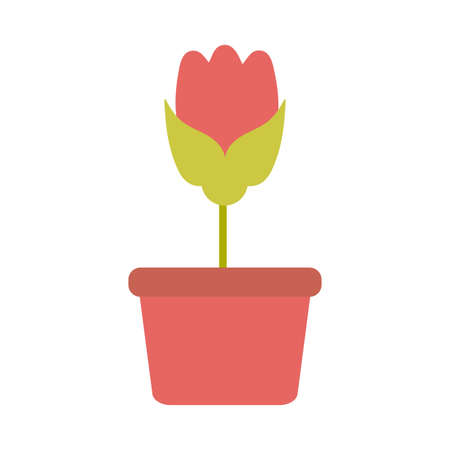 cute flower with potted on white background vector illustration design