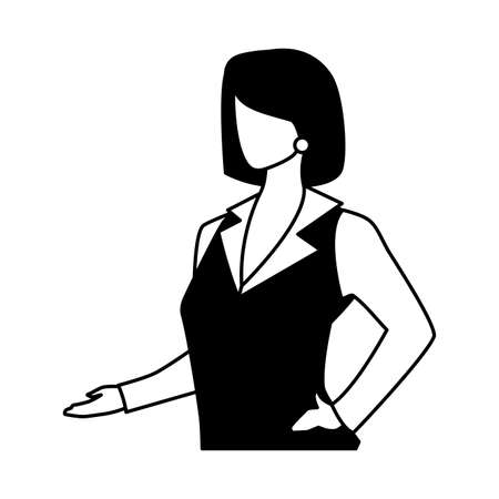 businesswoman faceless on white background vector illustration design