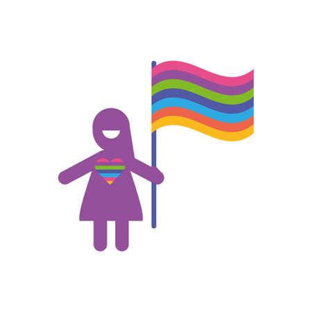 Avatar woman with flag of zero discrimination day, flat style icon vector illustration design Illustration