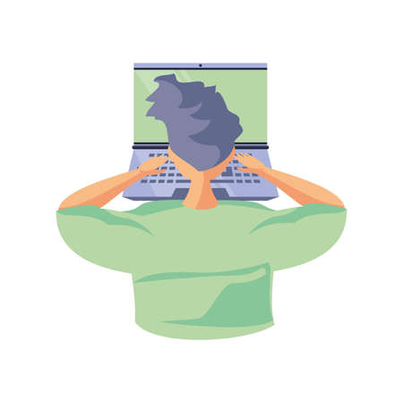 man in front of laptop, online education vector illustration design