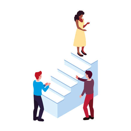 group of people with stair on white background vector illustration design