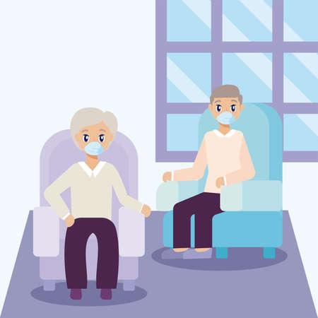 elderly care, old men on the living room vector illustration design