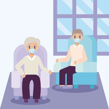 elderly care, old men on the living room vector illustration design Illustration