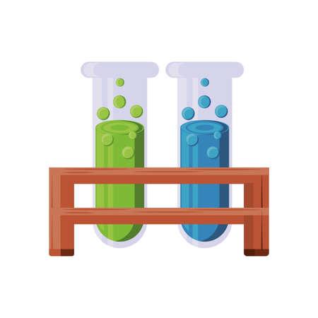 chemical laboratory test tubes on white background vector illustration design Illustration