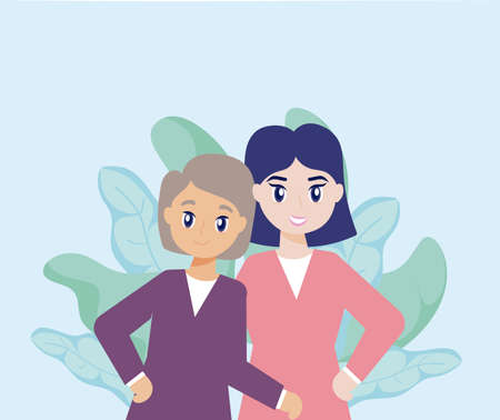young woman takes care of old woman vector illustration design