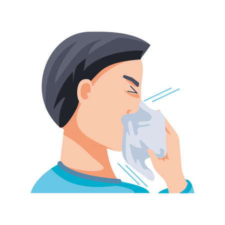 man with cough on white background vector illustration design Stock Illustratie