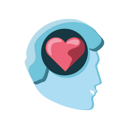human head with heart on white background vector illustration design