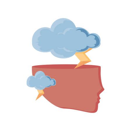 human head with rain clouds on white background vector illustration design