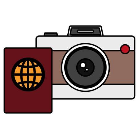 passport document with camera photographic vector illustration design Vectores