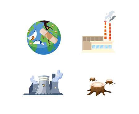 set of icons environmental pollution vector illustration design