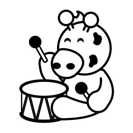 giraffe with drum toy on white background, baby toys vector illustration design Illusztráció