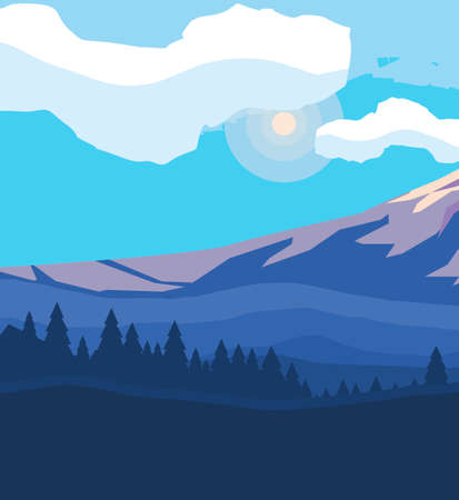 mountains with forest snowscape scene vector illustration design 向量圖像