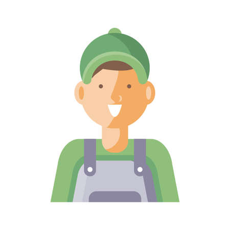 cartoon gardening man icon over white background, flat detail style, vector illustration