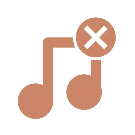 not music symbol over white background, silhouette style icon, vector illustration