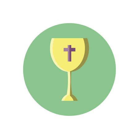 catholic wine glass over white background, block style icon, vector illustration