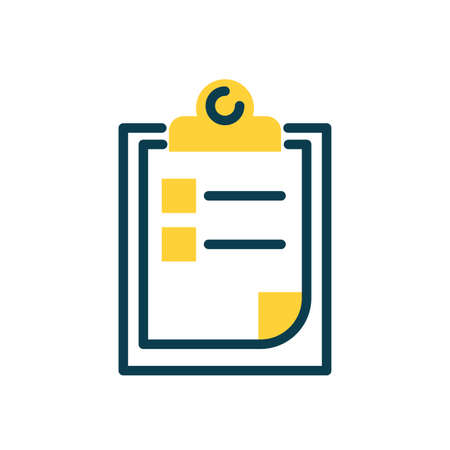 clipboard with checklist icon over white background, half color style, vector illustration