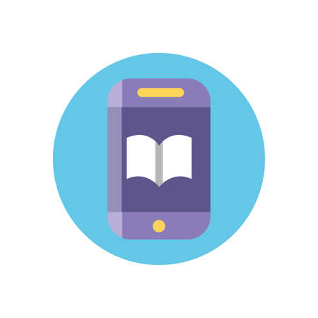 smartphone with academic book icon over white background, colorful block style, vector illustration