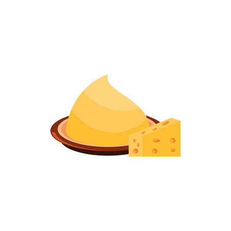 delicious cheese portion on white background vector illustration design
