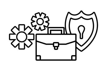 briefcase with seo icons on white background vector illustration design