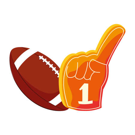 american football ball with hand glove on white background vector illustration design
