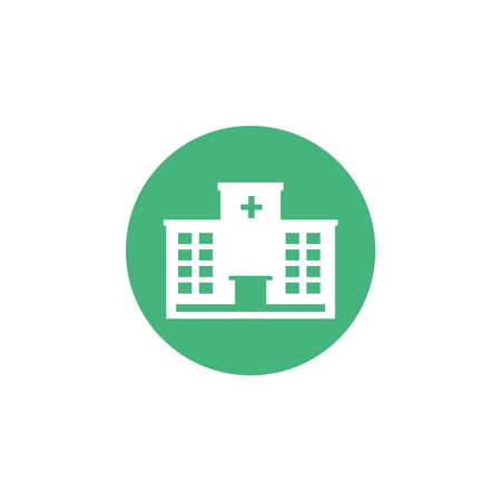 hospital building, block and flat style icon vector illustration design