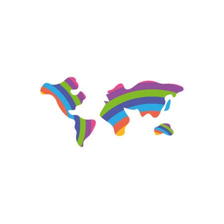 Isolated world maps, flat style icon vector illustration design