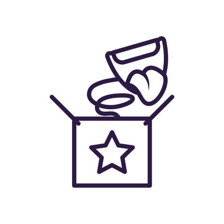 joke box with cartoon mouth laughing over white background, line style icon, vector illustration