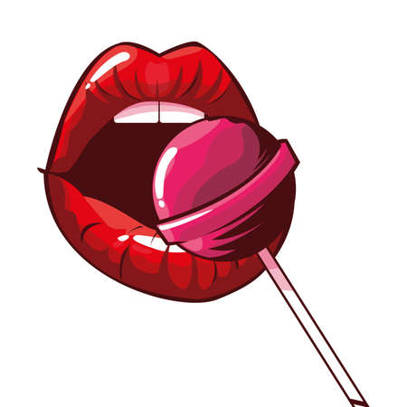female lips with lollipop pop art style vector illustration design