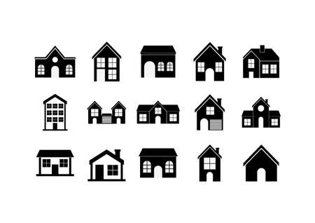 Houses set silhouettes with window and door design, Home real estate building residential architecture property and city theme Vector illustration Vettoriali