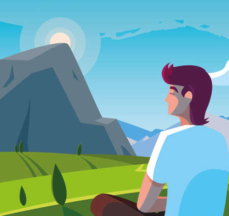 man seated observing landscape mountainous vector illustration design