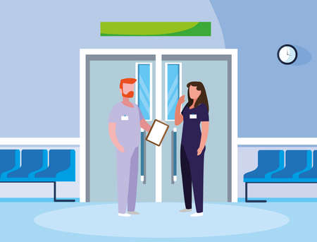 couple medicine workers in elevator door vector illustration design Illustration