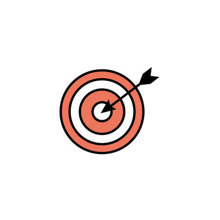 target and arrow, line style icon vector illustration design Illustration