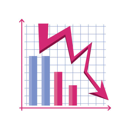 chart with down arrows on white background vector illustration design Vettoriali
