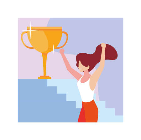 young woman with gold trophy vector illustration design Illustration
