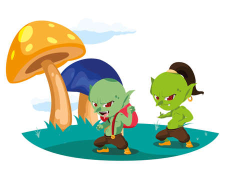 ugly trolls in the camp magic character vector illustration design