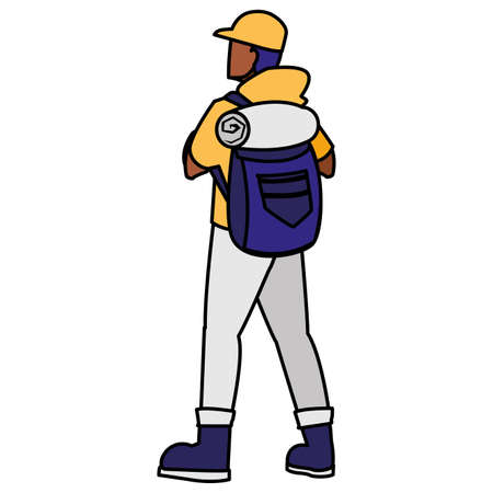 adventurous man with travelbag vector illustration design 向量圖像