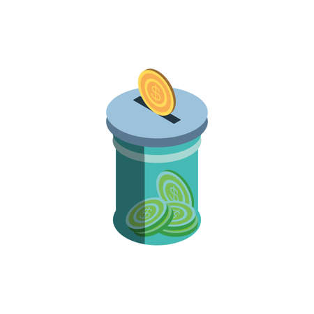 Coin and jar of money financial item banking commerce market payment buy currency accounting and invest theme Vector illustration