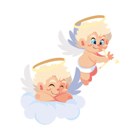 cute cupid angels in different poses on white background vector illustration design Vectores