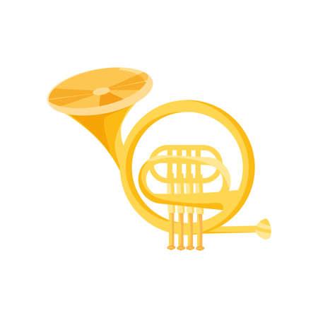 french horn on white background vector illustration design
