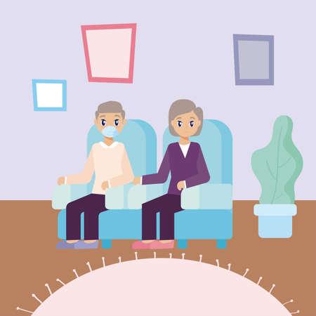 elderly care, old couple sitting on the sofa vector illustration design