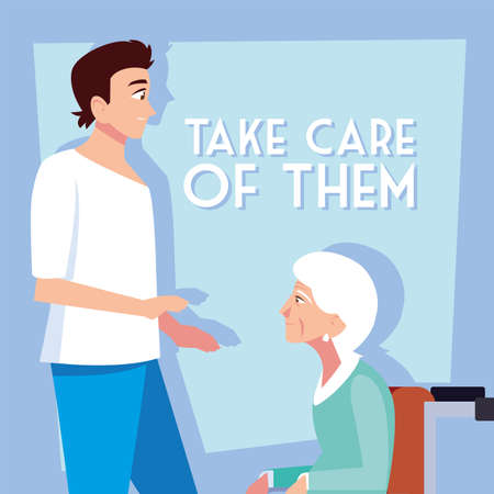 young man take care of old woman, label take care of them vector illustration design