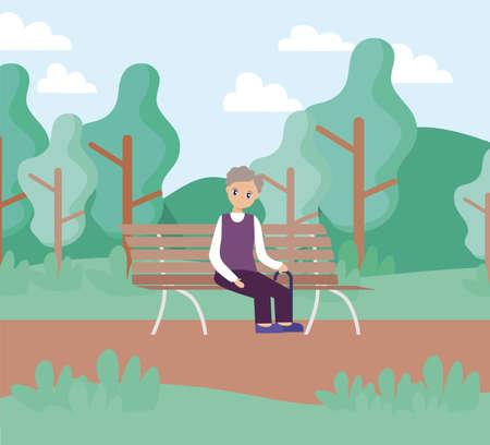 elderly care, old man sitting in park chair vector illustration design