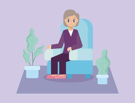elderly care, old woman sitting on the sofa vector illustration design