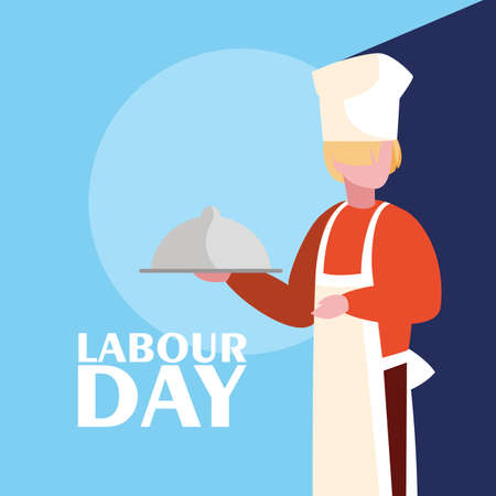 labour day celebration with professional chef vector illustration design
