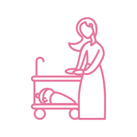 woman with baby in the cot, line style icon vector illustration design