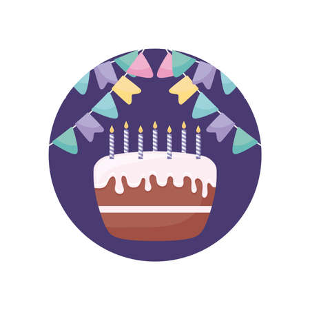 sweet cake with candles in frame circular vector illustration design Çizim