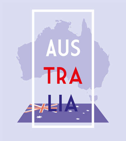 australia map with flag, label australia vector illustration design Illustration