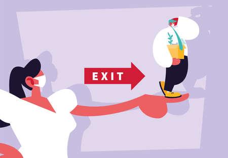 businesswoman boss dismisses employee, unemployment vector illustration design