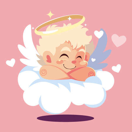 cupid angel sleeping on a cloud, valentines day vector illustration design